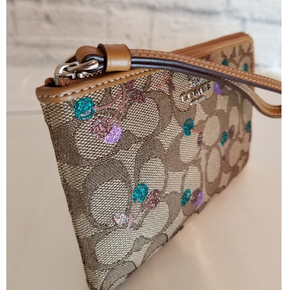 Coach Glitter Cherry Print Corner Zip Wristlet New b6f239de1f47d